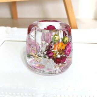 No.290 ミニ薔薇ブーケin♡固まるハーバリウムペン立て(プリザーブドフラワー)