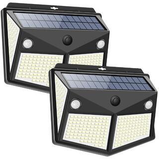 センサーライト 280LED ソーラーライト 4面発光 3つ知能モード 太陽光(蛍光灯/電球)