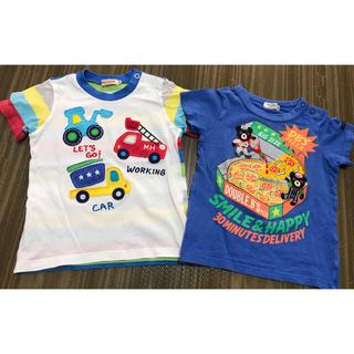 ミキハウス(mikihouse)のミキハウス ダブルビー ピザと働く車Tシャツ 2枚セット 90(Tシャツ/カットソー)
