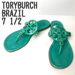 Tory Burch - TORY BURCH サンダル ビーチ ミラー レザー素材 ブラジル製 ハワイ