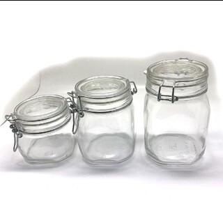 ムジルシリョウヒン(MUJI (無印良品))のママ様 ガラス 瓶 ソーダガラス 密封ビン 3点 保存容器 セット【新品】(容器)