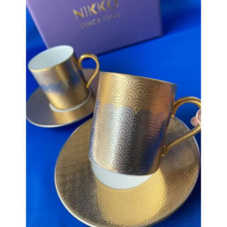 NIKKO - NIKKO ニッコー カップ&ソーサー 2客 ゴールド シルバー 鱗柄