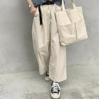 MUJI (無印良品) - ◆新品◆ 無印良品ストレッチ高密度織りクロップドワイドパンツ/アイボリー/XL