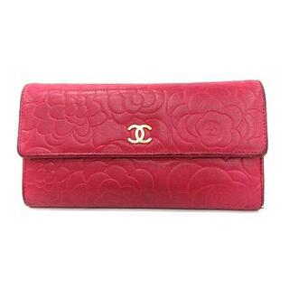 CHANEL - シャネル 長財布 二つ折り ココマーク カメリア型押し ラムスキン ピンク