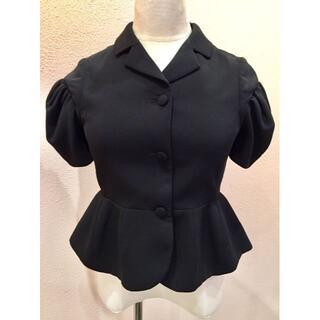ミュウミュウ(miumiu)のmiu miu ミュウミュウ ジャケット ペプラム パフスリーブ 半袖 黒 36(テーラードジャケット)
