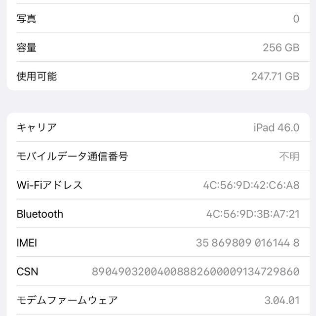 Apple(アップル)のiPad Pro 2018 11インチ 256G グレー simフリー化済 スマホ/家電/カメラのPC/タブレット(タブレット)の商品写真