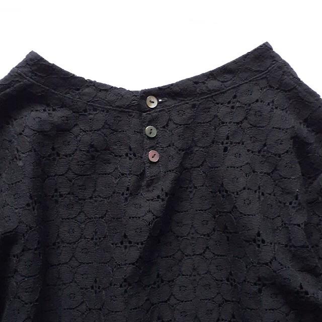 mina perhonen(ミナペルホネン)のSally Scott サリースコット ラッセルレース カットソー ブラック レディースのトップス(シャツ/ブラウス(長袖/七分))の商品写真