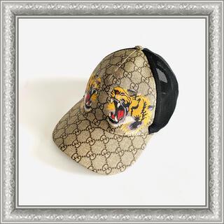 グッチ(Gucci)のGUCCI グッチ キャップ 帽子 タイガー GGスプリーム ベージュ L(キャップ)