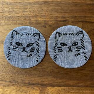 AfternoonTea - アフタヌーンティーリビング 猫のビーズコースター2枚セット