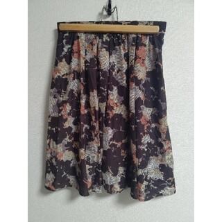 エクリュフィル(ecruefil)の☆エクリュフィル☆プリントスカート ブラウン系 サイズ2 M(ひざ丈スカート)