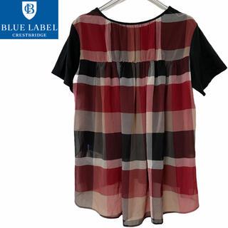 BURBERRY BLUE LABEL - ブルーレーベルクレストブリッジ☆チェック柄 Tシャツ 38サイズ 三陽商会