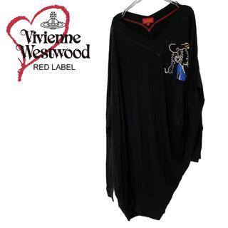ヴィヴィアンウエストウッド(Vivienne Westwood)のヴィヴィアンウエストウッド☆レッドレーベル 変形 ロンTシャツ オーブ 猫 靴(Tシャツ(長袖/七分))