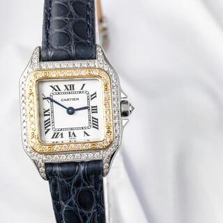 カルティエ(Cartier)の【仕上済】カルティエ パンテール コンビ レザー ダイヤ レディース 腕時計(腕時計)