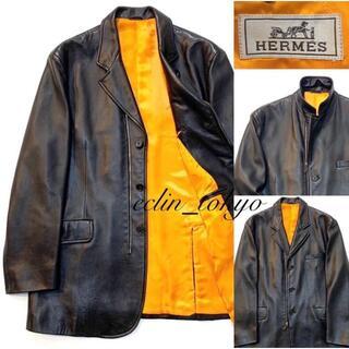 Hermes - HERMES  最高級レザー ライダース ジャケット オレンジ×黒 E2852