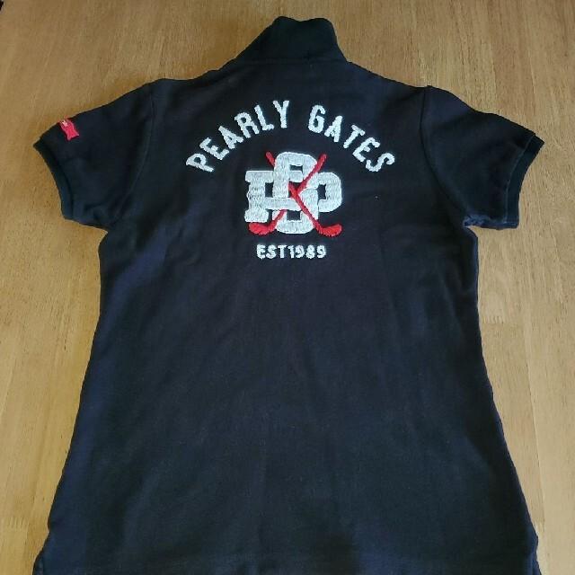 PEARLY GATES(パーリーゲイツ)のパーリーゲイツ レディース 1 ポロシャツ 黒 スポーツ/アウトドアのゴルフ(ウエア)の商品写真