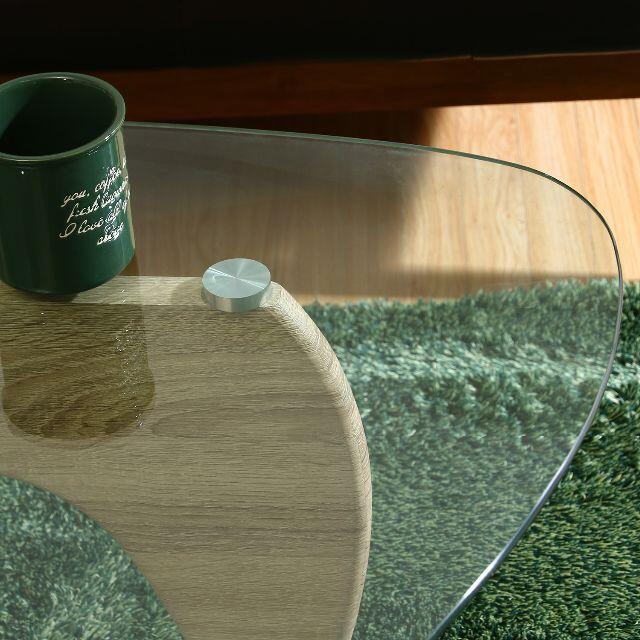 ガラス天板 デザインセンターテーブル/リビングテーブル ホワイトオーク インテリア/住まい/日用品の机/テーブル(ローテーブル)の商品写真