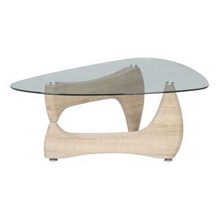 ガラス天板 デザインセンターテーブル/リビングテーブル ホワイトオーク(ローテーブル)