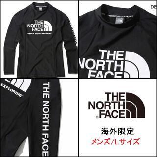 ザノースフェイス(THE NORTH FACE)の新品 海外 ノースフェイス ラッシュガード メンズ 長袖 水着 黒/L K94B(Tシャツ/カットソー(七分/長袖))