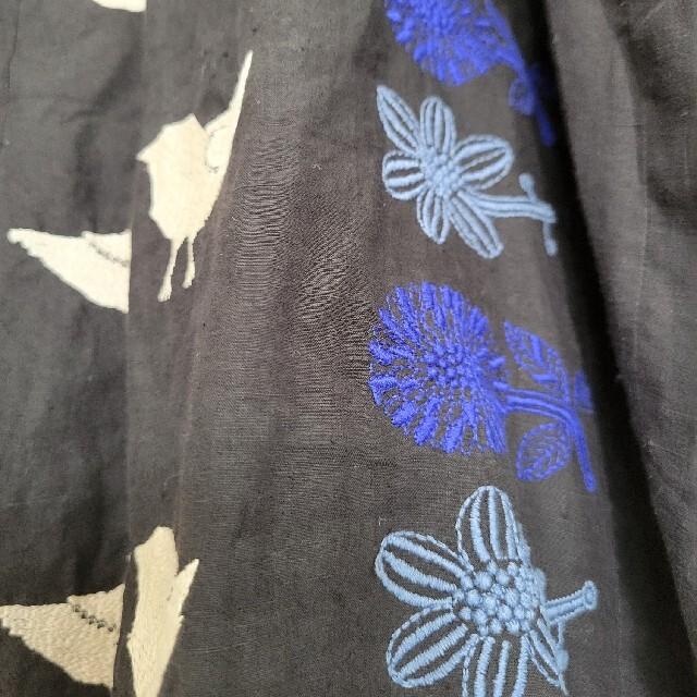 mina perhonen(ミナペルホネン)のミナペルホネン/tori to hanaリネンワンピースブラック38 レディースのワンピース(ロングワンピース/マキシワンピース)の商品写真