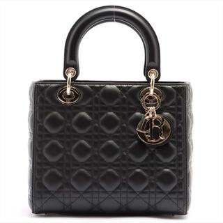 Christian Dior - クリスチャンディオール  レザー  ブラック レディース ハンドバッグ