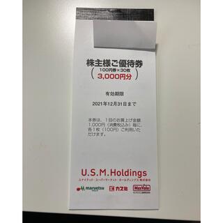 イオン(AEON)のユナイテッドスーパーマーケット 株主優待 3000円分(ショッピング)