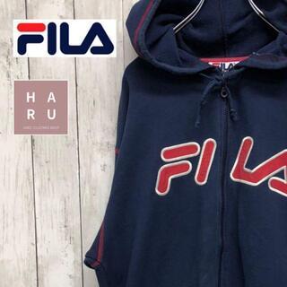 フィラ(FILA)のフィラ FILA ビックロゴ フードパーカー フルジップジャンパー ネイビー 紺(パーカー)