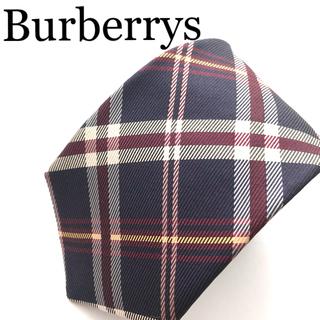 バーバリー(BURBERRY)の【未使用】バーバリーネクタイ  アメリカ製 シルク ネイビーチェック(ネクタイ)