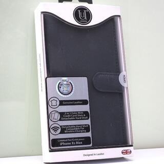 iPhone XS Max 用 2in1 耐衝撃 手帳型ケース 本革 ネイビー(iPhoneケース)