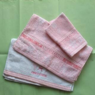 エンリココベリ(ENRICO COVERI)のエンリココベリ タオル3枚セット ピンク 白 未使用品 箱なし(タオル/バス用品)