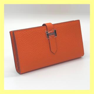 【新品未使用】ベルト型 長財布 本革 レディース 高品質 オレンジ ノーブランド