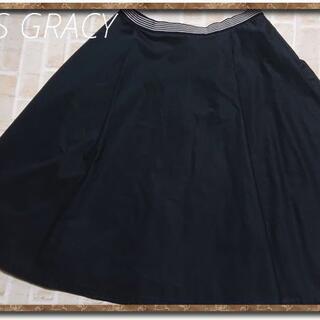 エムズグレイシー(M'S GRACY)のエムズグレイシー コットンスカート 濃紺(ひざ丈スカート)