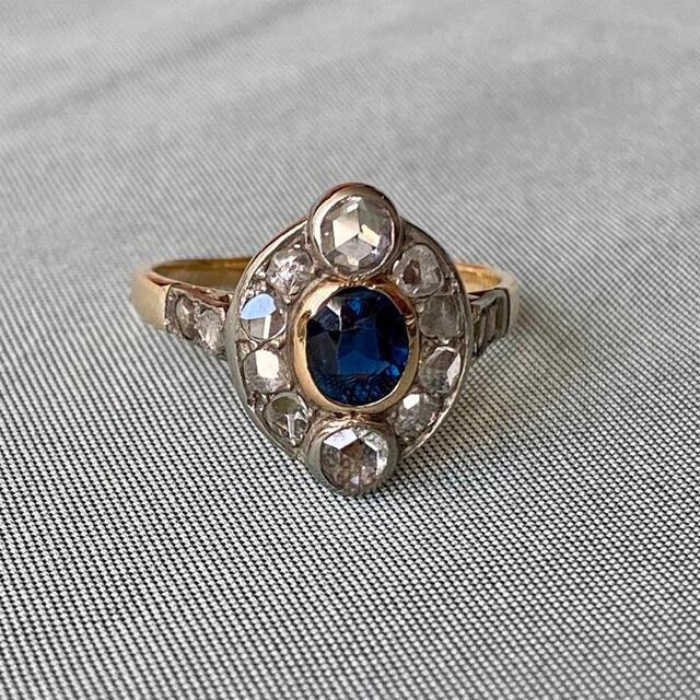 レア アンティーク サファイア ローズカットダイヤモンド クラスターリング レディースのアクセサリー(リング(指輪))の商品写真