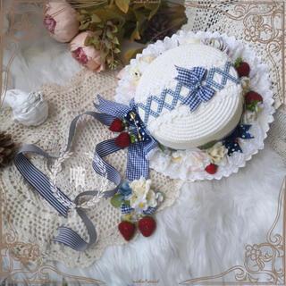 アンジェリックプリティー(Angelic Pretty)の。.ʚ 野いちご おりぼん ɞ .。カンカン帽(麦わら帽子/ストローハット)