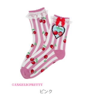 アンジェリックプリティー(Angelic Pretty)のCherry Stampクルー丈ソックス(ロングワンピース/マキシワンピース)