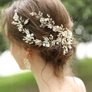 ⚠️残り1点❤️大人気❤️ブライダル 小枝ヘッドドレス ゴールド 結婚式(ヘッドドレス/ドレス)