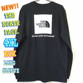 ザノースフェイス(THE NORTH FACE)の超ビッグサイズ  新品 ノースフェイス BOX NSE ロンT 黒 白 4XL(Tシャツ/カットソー(七分/長袖))