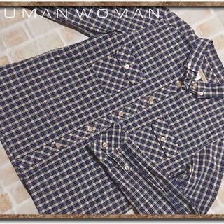 ヒューマンウーマン(HUMAN WOMAN)のヒューマンウーマン チェック長袖シャツ 青系(シャツ/ブラウス(長袖/七分))