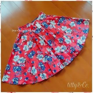 ティティアンドコー(titty&co)の《titty&Co.》花柄 フラワープリント フレアスカート M(ひざ丈スカート)