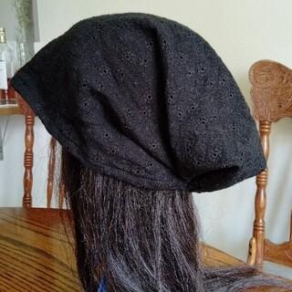 ♦医療帽子 ケア帽子 バンダナキャップ〈黒刺繍柄 ダブルガーゼ〉