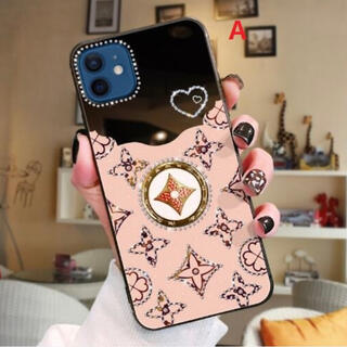 iPhone12 12pro スマホケース モノグラム リング付 鏡 ピンク