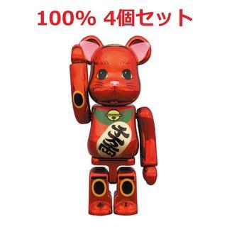 メディコムトイ(MEDICOM TOY)のBE@RBRICK 招き猫 梅金メッキ 100% x4個セット(その他)