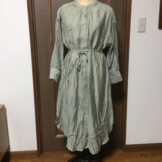 新品タグ付✴︎サイドスリット入りシアーシャツワンピース(ロングワンピース/マキシワンピース)