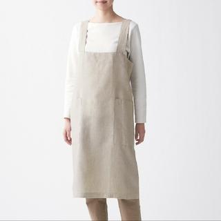 ムジルシリョウヒン(MUJI (無印良品))の麻平織 肩掛けエプロン 生成M(収納/キッチン雑貨)