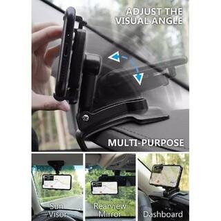 スマホホルダー 携帯スタンド 折りたたみ バネ付クリップ カーナビ 360°回転