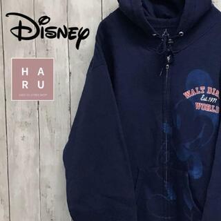 ディズニー(Disney)のディズニー ミッキーマウス プリントパーカー ビックデザイン ネイビー 紺(パーカー)