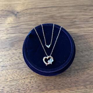 ヨンドシー(4℃)の4℃ 2連ハート型ネックレス K10 ピンクゴールド ダイヤ付き(ネックレス)