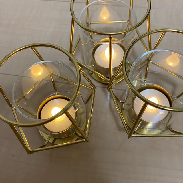IKEA(イケア)のIKEA キャンドルホルダー(LEDキャンドル付き) コスメ/美容のリラクゼーション(キャンドル)の商品写真
