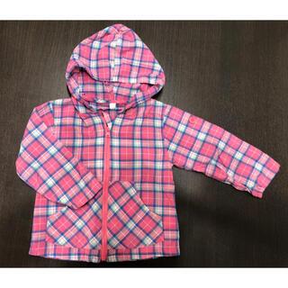 ニシマツヤ(西松屋)の西松屋 ピンクチェックシャツパーカー 90センチ(ジャケット/上着)