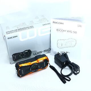 リコー(RICOH)の★マイクロスタンド付★ RICOH WG-50 オレンジ(コンパクトデジタルカメラ)