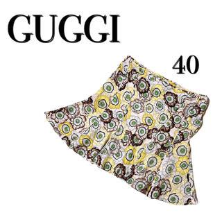 グッチ(Gucci)のグッチ GUCCI シルク100 フレア スカート 春夏 花柄 総柄 レトロ(ひざ丈スカート)